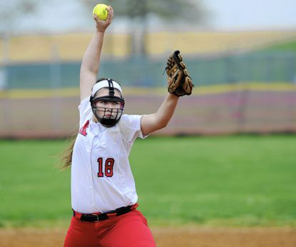 Francis Scott Key's Jenna Brown delivers against Winters Mill Wednesday, April 27 at Francis Scott Key High School.