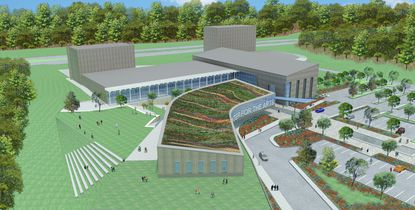 This rendering shows a bird's-eye view of Harford County's Center for the Arts.