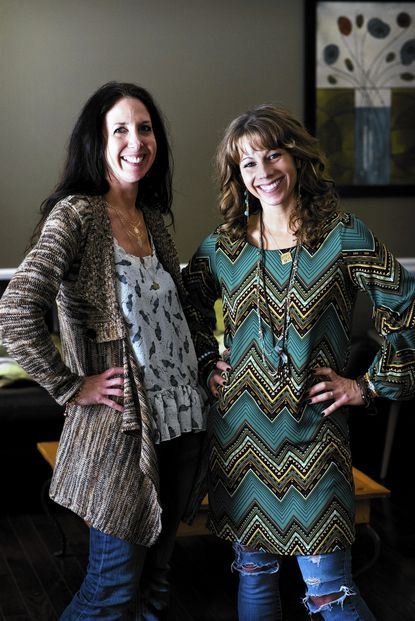 Ellen Lunay (left) and Amy Fresty, neighbors and friends in Arnold, have created HERE. a pop-up shop. Every eight weeks they will open briefly in different locations, the store specializing in fashion, jewelry and home goods. With this plan the two do not have to sign a long-term lease and are able to split time more easily between work and family.
