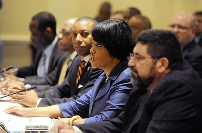 Baltimore Mayor Stephanie Rawlings-Blake and city schools CEO Andres Alonso, right, testify before the state House Appropriations Committee on behalf of a block grant bill for city schools. Del. Keith Haynes of Baltimore, who introduced the bill, is on the left.