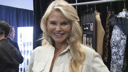 This image taken from video shows model Christie Brinkley backstage at the Elie Tahari show during Fashion Week in New York on Thursday, Feb. 7, 2019. (AP Photo/Aron Ranen)