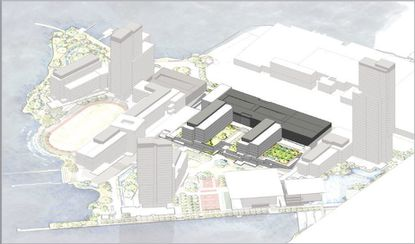 Rendering of the first phase of Under Armour's new Port Covington campus, expected to include about 500,000 square feet of offices and a 1,500-car garage. It is being designed by Bohlin Cywinski Jackson, the same firm that worked on Under Armour's master plan.