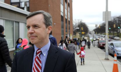 <p>Baltimore, MD-- March 30, 2015--Matt Hornbeck, principal of Hampstead Hill Academy in east Baltimore, stands outside the school as students arrive in the morning.&nbsp; Barbara Haddock Taylor/Baltimore Sun</p>