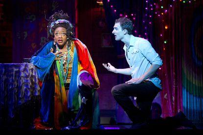 "Carla R. Stewart as Oda Mae and Steven Grant Douglas as Sam in ""Ghost the Musical"""