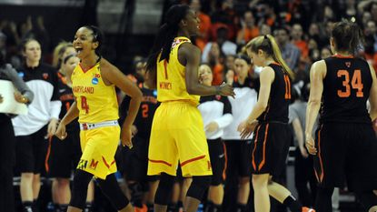 Maryland guards Lexie Brown (4) and Laurin Mincy celebrate after the Terps defeated Princeton, 85-70, in 2015 at Xfinity Center in College Park to advance to the Sweet 16.