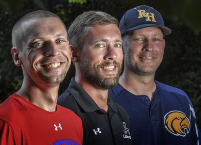 (L-R) Kevin, Alex and Wes McCoy are brothers who are each head coaches at three high schools in Howard County. Wes coaches baseball at River Hill; Kevin coaches cross country and track at Centennial; and Alex coaches boys lacrosse at Atholton.