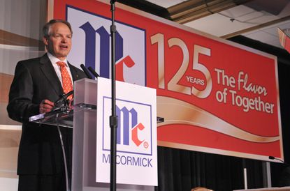 Alan Wilson, McCormick's chairman, president and CEO, addresses the company's shareholders during its annual meeting.