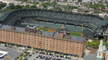 Aerial view of Oriole Park at Camden Yards.