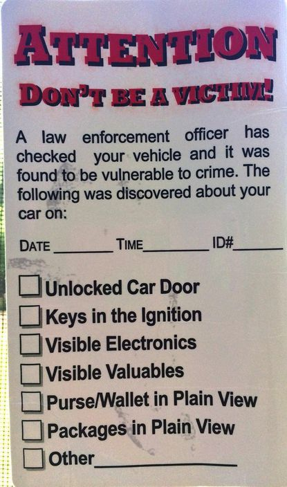Harford County Sheriff's Office deputies placed stickers on vehicles they found unlocked during a recent foot patrol in an Edgewood neighborhood.