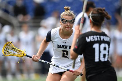 Navy's Gillian Eby defends during a game against Army West Point in 2019.