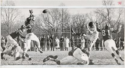 Gilman's Jim Cross almost gets his hands on a punt by McDonogh's Van Strakes.