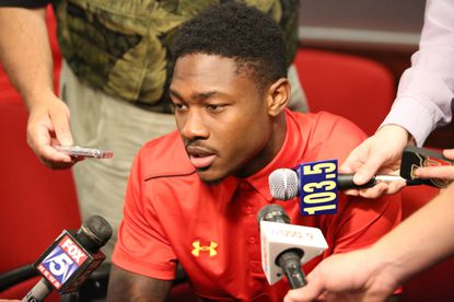 Maryland wide receiver Stefon Diggs speaks at the team's annual media day on Aug. 11.