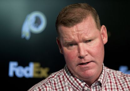 """this April 25, 2016, file photo, Washington Redskins general manager Scot McCloughan speaks during a news conference at Redskins Park in Ashburn, Va. McCloughan is not attending the NFL combine in Indianapolis. Team spokesman Tony Wyllie confirmed McCloughan's absence in an email to the Associated Press Thursday, March 2, 2017, saying McCloughan """"is taking care of some family matters."""""""
