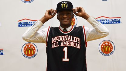 John Carroll guard Immanuel Quickley, a Kentucky commit, received his McDonald's All American jersey Tuesday.