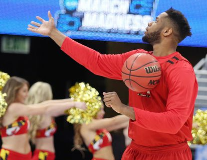 Maryland's Damonte Dodd during a practice session for the NCAA Tournament at the Amway Center in Orlando, Fla., on Wednesday, March 15, 2017. The Terrapins play Xavier in the first round on Thursday.