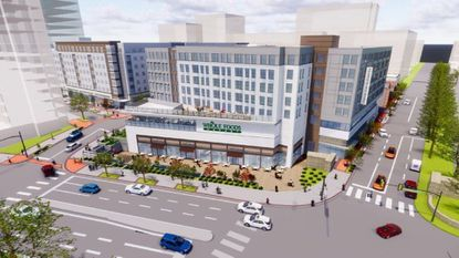 A rendering of Whole Foods, the planned anchor tenant for Towson Row.