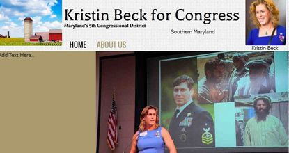 A view of Kristin Beck's campaign website