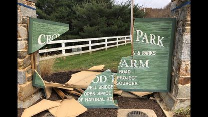 The sign to the entrance of Cromwell Valley Park is pictured on Nov. 17 after park employees found it had been destroyed overnight.