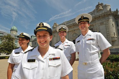 Gay midshipmen, from left, Caitlin Bryant, Kay Moore, Nick Bonsall, and Andrew Atwill.