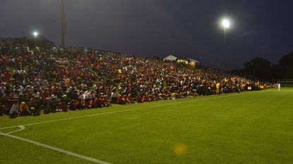 Retriever Soccer Park, home to the UMBC men's soccer program and pictured here hosting 2,873 fans on Aug. 28, 2017 against Howard, was named one of the top nine places to watch a college soccer game, according to an NCAA poll on Twitter.