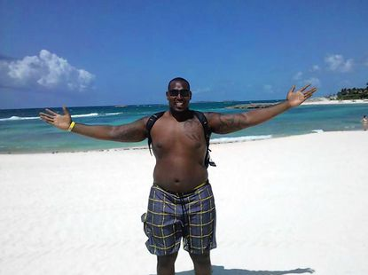 Baltimore Ravens defensive end Arthur Jones on the beach at the Atlantis resort in Paradise Island, Bahamas.