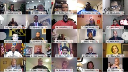Baltimore Mayor Brandon Scott presides over a virtual vigil for the those killed in the city in 2020. (Screenshot)