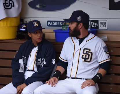 "Kylie Bunbury and Mark-Paul Gosselaar in the ""Scratched"" episode of ""Pitch."""