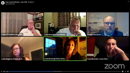Mount Airy Town Council members meet through a remote video conference on Monday, June 1.