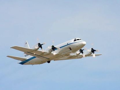 NASA's Orion P3 is a four-engine turboprop. It will used in air quality campaign and fly as low as 1,000 feet over Central Maryland as it tests for air quality.