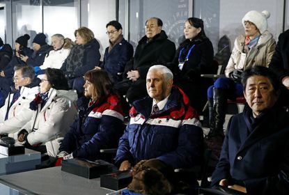 Vice President Mike Pence, second from bottom right, at the Opening Ceremony. Behind Pence are Kim Yong Nam, third from top right, president of the Presidium of North Korean Parliament, and Kim Yo Jong, second from top right, sister of North Korean leader Kim Jong Un.