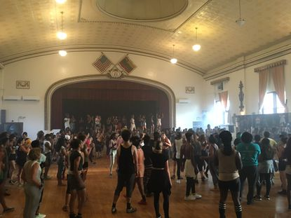 Singer FKA Twigs posted a photo from Tuesday's dance workshop at Lithuanian Hall on Twitter.