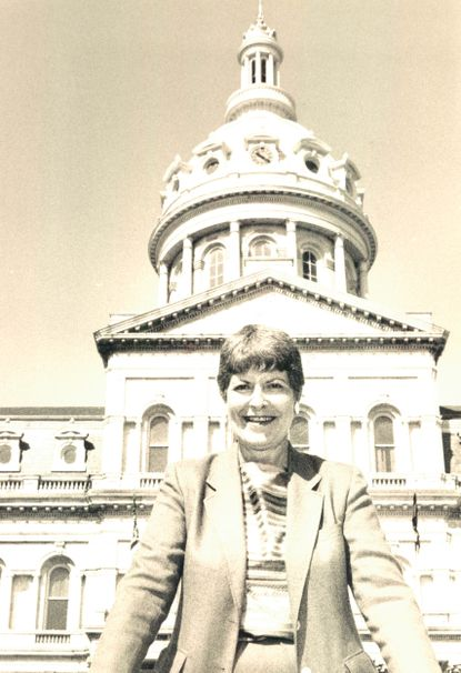 Joan Bereska, pictured in 1984, boosted Baltimore through fill-a-pothole promotions and other municipal endeavors, including the Baltimore is Best campaign.