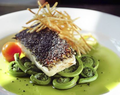 Shown is a black lava, sea salted, pan seared and oven-roasted Black Sea Bass over fiddle heads with potato sticks entree from The Corner, a recently opened restaurant in Hampden.