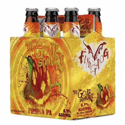 A six-pack of the Gourd Standard Pumpkin IPA by Flying Dog Brewery.