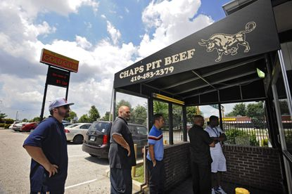 The customers' line extends to outside the front door of Chaps Pit Beef in Baltimore. A location is planned for Glen Burnie.