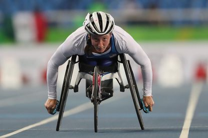 Tatyana McFadden of the United States competes in heat 1 of the women's 100 meter T54 during the Rio 2016 Paralympic Games on September 8, 2016 in Rio de Janeiro, Brazil.