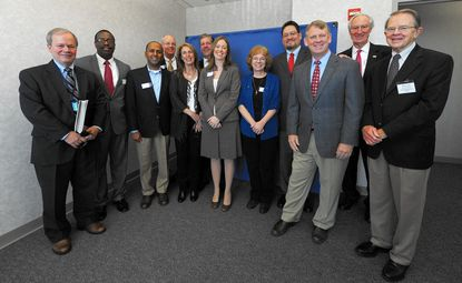 Members of Howard County Executive Allan Kittleman's transition team, from left to right: Chair Michael Davis, David Steele, Ananta Hejeebu, Cole Schnorf, Jean Parker, Chip Doetsch, Rachael Mull, Andrea Ingram, Angel Cartagena, Kittleman, Chip Lundy and Ron Carlson.