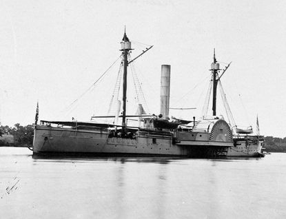 This steam-powered sidewheel gunboat is similar to the U.S.S. Mahaska, one of the vessels on which Landsman Henry Howard served. The photograph was taken on the James River in Virginia.