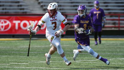 Maryland freshman Justin Shockey (3) and junior Austin Henningsen (not pictured) are one of only two duos on the same team to rank in the top 40 in Division I in faceoff percentage so far.