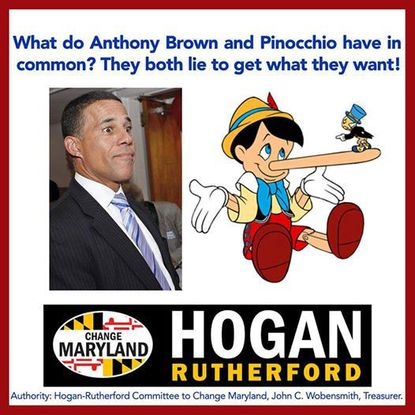 The campaign of Republican gubernatorial nominee Larry Hogan has taken down an advertisement that compared Lt. Gov. Anthony G. Brown to Pinocchio because it included a copyrighted image from the Walt Disney Co. without permission.