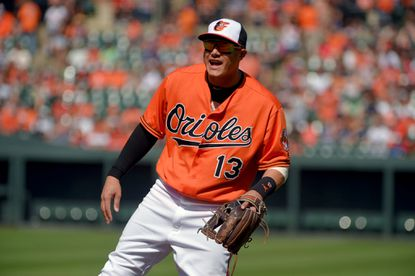 Baltimore, MD -- 06/18/2016 -- Baltimore Orioles third baseman Manny Machado (13) returns to his original position with the return of shortstop J.J. Hardy at Oriole Park at Camden Yards. Baltimore doubled over Toronto, 4-2.
