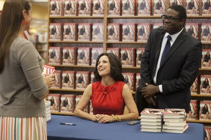 """Selina Meyer (Julia Louis-Dreyfus) on tour in Iowa to promote her new book and court caucus-goers in the Season 3 opener Sunday night of HBO's """"Veep."""" The scene was shot at Books-A-Million in Columbia."""