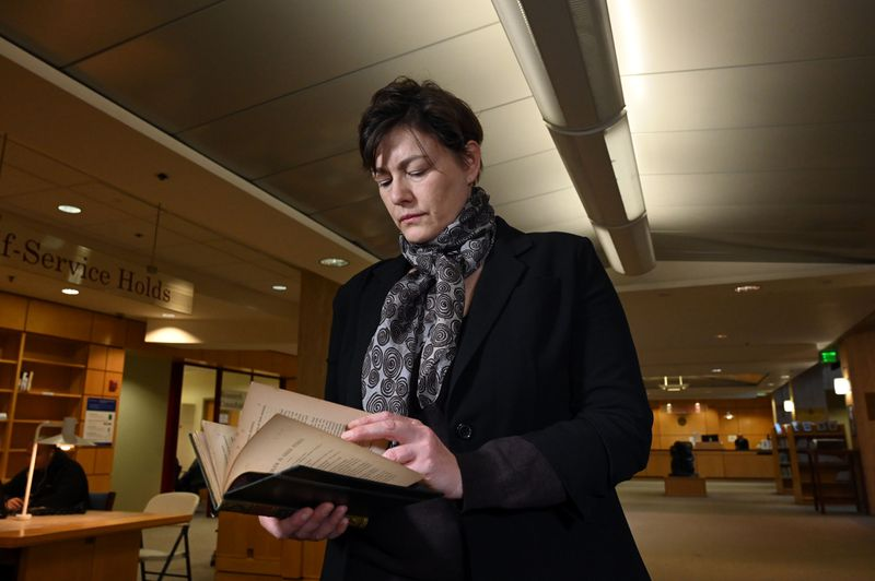 "Gabrielle Dean, a curator for rare books and manuscripts at Johns Hopkins University, holds the lost sixth copy of a ""A Problem in Greek Ethics"" by John Addington Symonds."