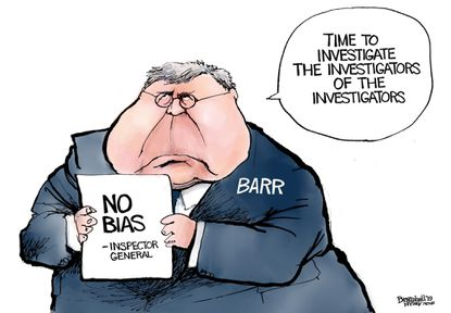 Bill Bramhall's editorial cartoon for Tuesday, Dec. 10, 2019, following Attorney General William Barr disagreeingwith the Justice Department's inspector general's report into the investigation of the Trump campaign's ties with Russia.