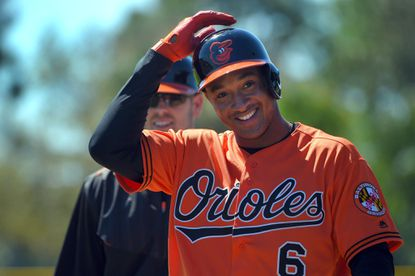 Baltimore Orioles infielder Jonathan Schoop during spring training at the Ed Smith Stadium complex.
