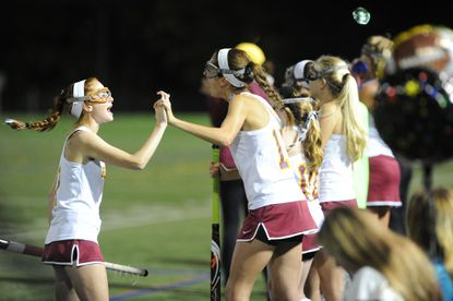 Hereford's field hockey team, seen here celebrating a goal during the Baltimore County championship game earlier this fall, defeated Glenelg on Monday in the 2A state semifinals.
