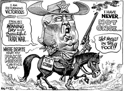 KAL: Trump returns victorious from the trade war!