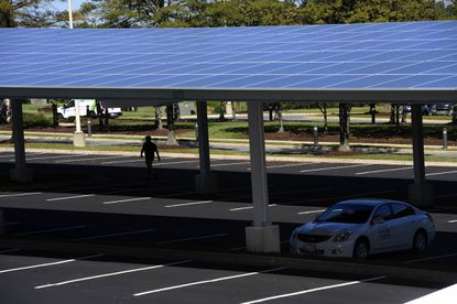 The new solar microgrid at Konterra headquarters is in one of the company's parking lots.