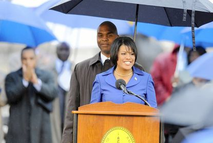 Baltimore Mayor Stephanie Rawlings-Blake smiles after giving her inaugural address.