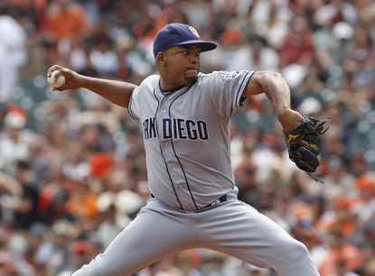 San Diego Padres pitcher Odrisamer Despaigne throws to the San Francisco Giants during the first inning, Sunday, Sept. 13, 2015, in San Francisco.